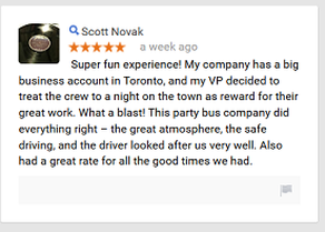 testimonial 1 for party bus toronto vip