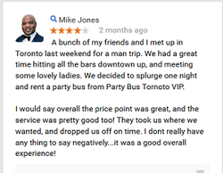 testimonial 2 for party bus toronto vip