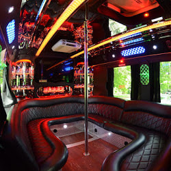 inside a rental party bus